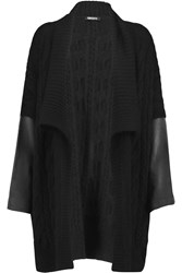 Dkny Leather Paneled Cable Knit Cardigan Black