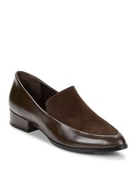 424 Fifth Verona Leather And Suede Loafers Brown