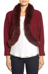 Women's Sofia Cashmere Genuine Fox Fur Trim Crop Cashmere Cardigan