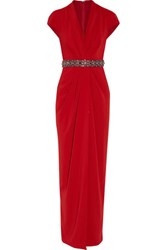 Badgley Mischka Draped Embellished Crepe Gown Claret