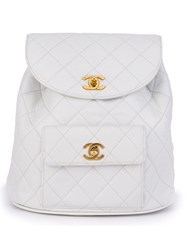 Chanel Vintage Quilted Backpack White