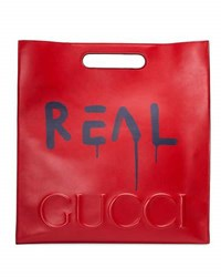Guccighost Large Leather Tote Bag Red Blue Red Blue