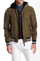 Mackage Didier Leather Trim Baseball Jacket Green
