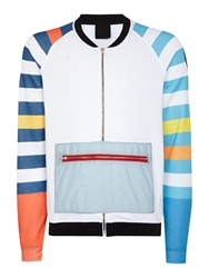 Blomor Striped Sleeve Graphic Half Zip Jumper Multi Coloured