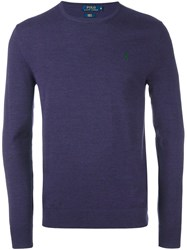 Polo Ralph Lauren Crew Neck Jumper Pink And Purple