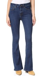 Free People Cindi High Rise Flare Jeans Dark Blue