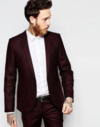 Heart And Dagger Burgundy Textured Blazer With Peak Lapel In Skinny Fit Red
