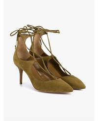 Aquazzura Christy Suede Pumps With Pointed Toe Olive Green Silver Denim