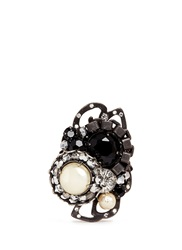 Miriam Haskell Crystal Pearl Crescent Ring Metallic Black