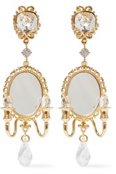 Dolce And Gabbana Gold Tone Crystal Mirrored Clip Earrings