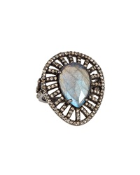 Bavna Teardrop Labradorite And Diamond Pave Cocktail Ring Women's