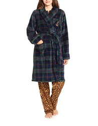 Lauren Ralph Lauren Fleece Shawl Collar Robe Green Plaid