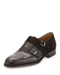 Magnanni For Neiman Marcus Leather Suede Double Monk Loafer Black
