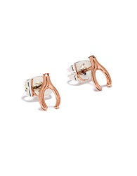 Bing Bang Wishbone Stud Earrings Rose Gold