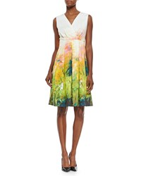Lafayette 148 New York Junette Abstract Floral Print Dress Pineapple Multi