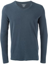 Majestic Filatures Longsleeved V Neck T Shirt Blue