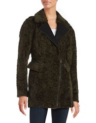 Catherine Malandrino Faux Fur Mid Length Asymmetrical Zipper Coat Olive Green