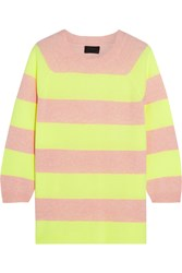 J.Crew Neon Striped Cashmere Sweater Peach Yellow