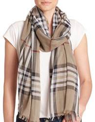 Lord And Taylor Cotton Plaid Scarf Taupe
