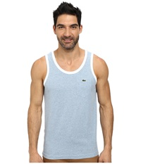 Lacoste Live Cotton Jersey With Contrast Trim Tank Top Egee Jaspe White Men's Sleeveless Blue