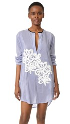 Lila.Eugenie Striped Jesi Flower Shirtdress Blue White