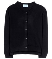 Prada Virgin Wool Cardigan Black
