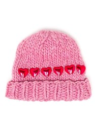Wool And The Gang Knitted Heart Beanie Hat Pink And Purple