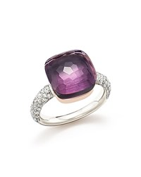 Pomellato Nudo Maxi Ring With Faceted Amethyst And Diamonds In 18K White And Rose Gold Purple White