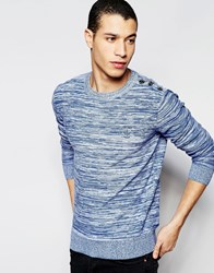 Firetrap Stripe Crew Neck Knitted Jumper Blue