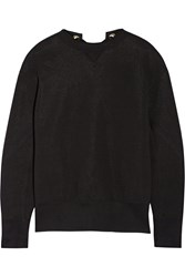 Sacai Lace Up Cotton Blend Sweatshirt Black