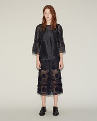 Sacai Embroidery Applique Patch Skirt Black Navy