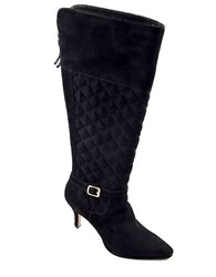 Adrienne Vittadini Jabine Quilted Suede Boots Black