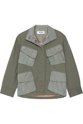 Tim Coppens Shell Paneled Stretch Cotton Jacket Army Green