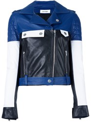 Courreges Colour Block Biker Jacket Blue