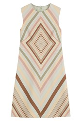 Valentino Printed Wool Silk Shift Dress Multicolor