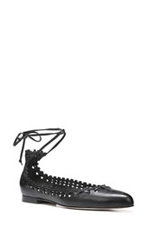Via Spiga Women's 'Sammy' Cutout Lace Up Flat Black Leather