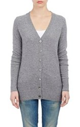 Barneys New York Cashmere V Neck Cardigan Grey
