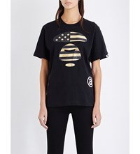 Aape By A Bathing Ape Metallic Logo Print Cotton Jersey T Shirt Black