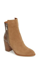Kenneth Cole Women's New York Ingrid Faux Snakeskin Bootie Natural Multi Suede