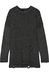 R 13 R13 Distressed Melange Knitted Sweater Charcoal