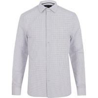 River Island Mens Grey Striped Long Sleeve Shirt