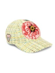 Gucci Multicolor Tweed Baseball Cap Maize