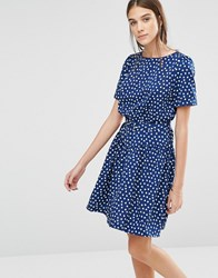 Trollied Dolly Heart Print Drop Dead Gorgeous Dress Navy