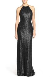 Women's Amsale 'Chandler' Sequin Tulle Halter Style Gown Black