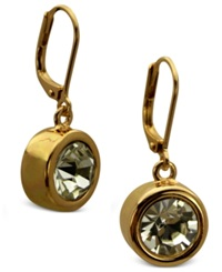 T Tahari Earrings Gold Tone Bezel Crystal Signature Drop Earrings
