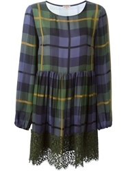 P.A.R.O.S.H. Lace Trim Tartan Dress Green