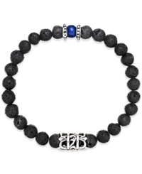 Macy's Men's Onyx Lava Bead Bracelet In Stainless Steel Black