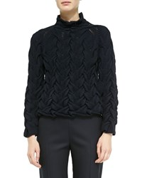 The Row Long Sleeve Chunky Cable Knit Cashmere Sweater Navy Blue