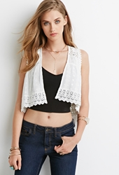 Forever 21 Embroidered Open Front Vest Ivory