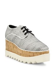 Stella Mccartney Elyse Textured Platform Oxfords Black White